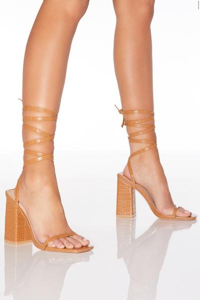 Camel Tie Up Heel Sandals